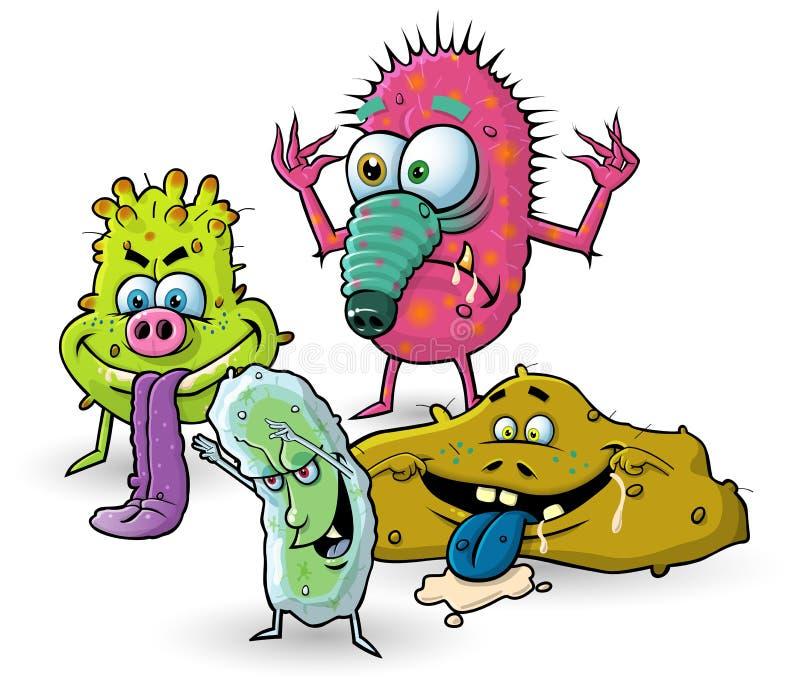 Gérmenes de la historieta, virus, bacterias stock de ilustración