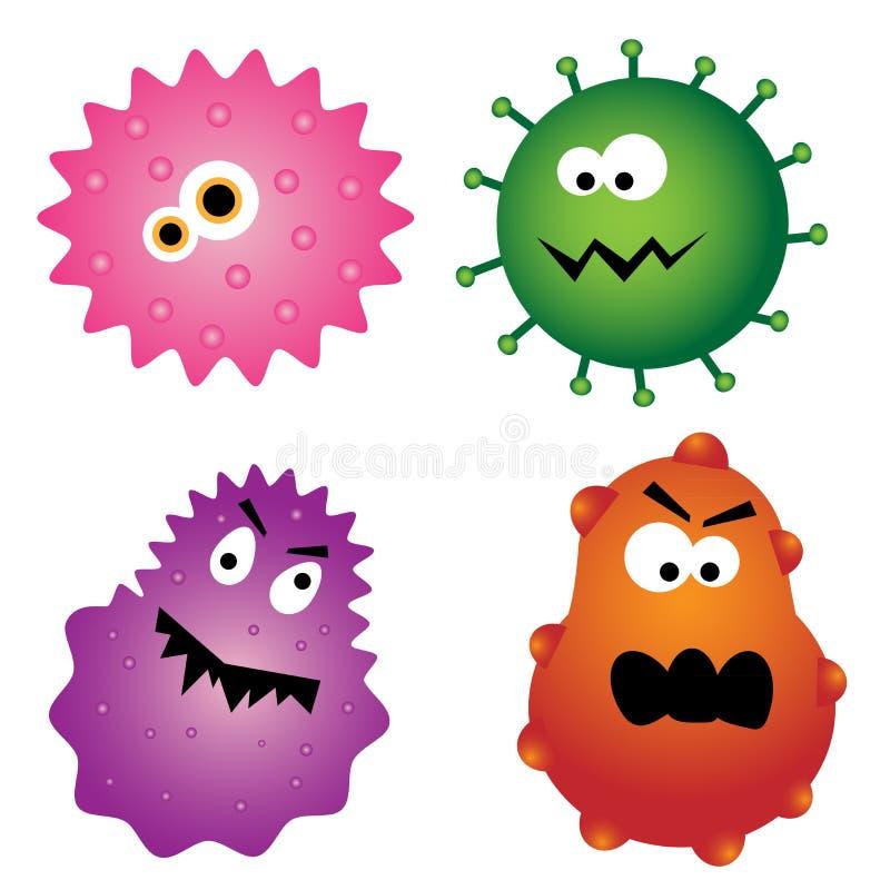 Gérmenes del virus de la historieta ilustración del vector