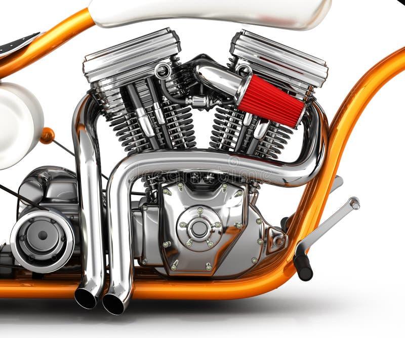 Gêmeo do motor v da motocicleta isolado na ilustração branca do fundo 3d ilustração do vetor