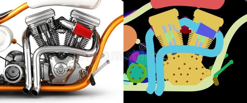 Gêmeo do motor v da motocicleta isolado no fundo branco com ilustração alfa da cor 3d ilustração stock