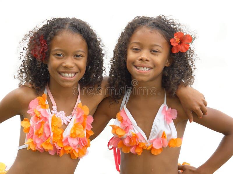 Gêmeos da menina de Hula fotografia de stock