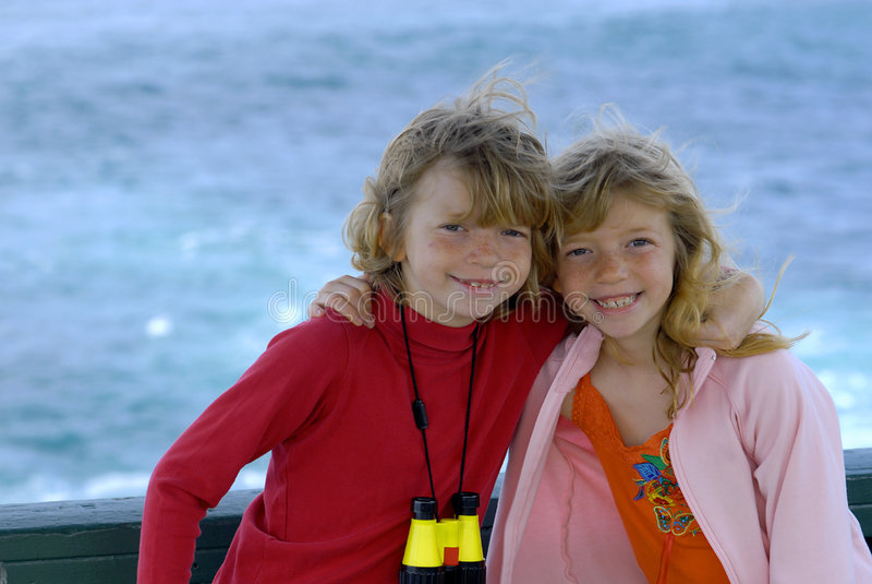 Gêmeos em um parque do beira-mar fotos de stock