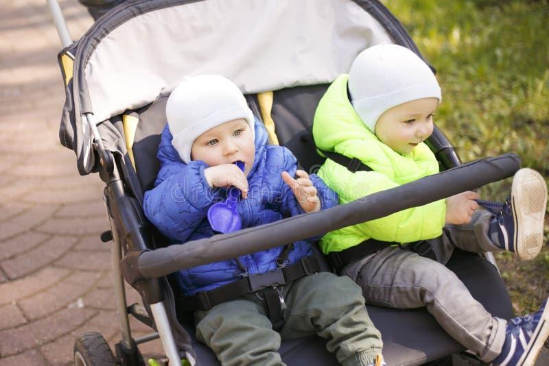 Gêmeos em um pram no parque fotografia de stock