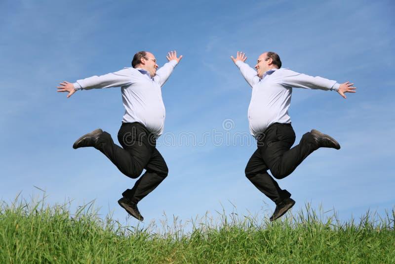 Gêmeos gordos de salto na colagem da grama foto de stock