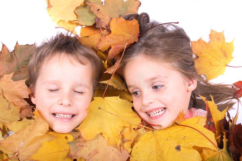 Gêmeos nas folhas de outono fotografia de stock