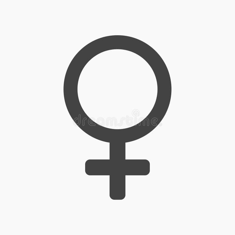 Gênero fêmea preto, ícone liso do venus ilustração stock