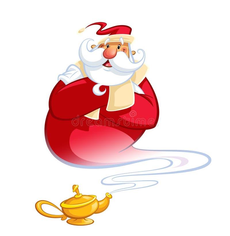 Gênios de sorriso felizes Santa Claus dos desenhos animados que sai de um oi mágico ilustração stock