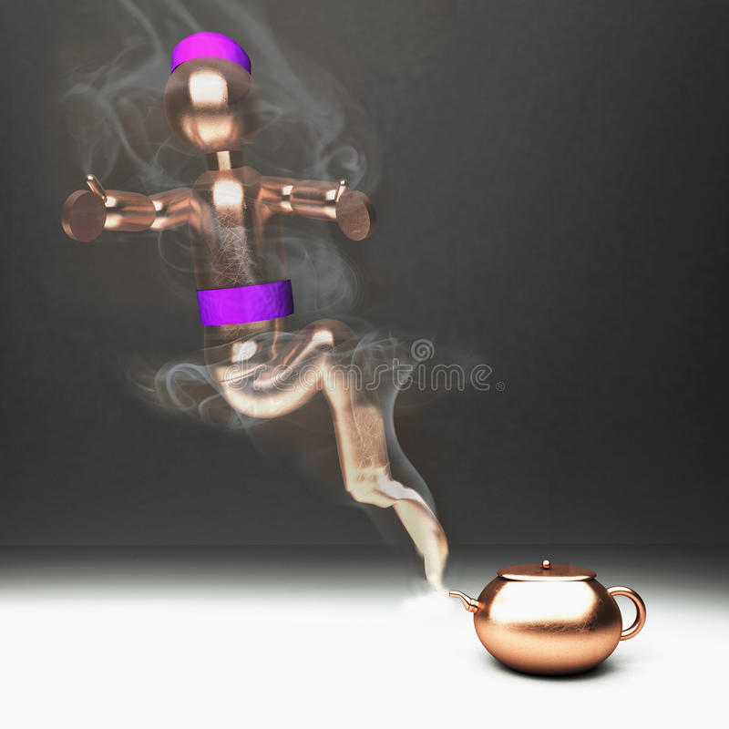 Gênios de uma xícara de chá ilustração royalty free