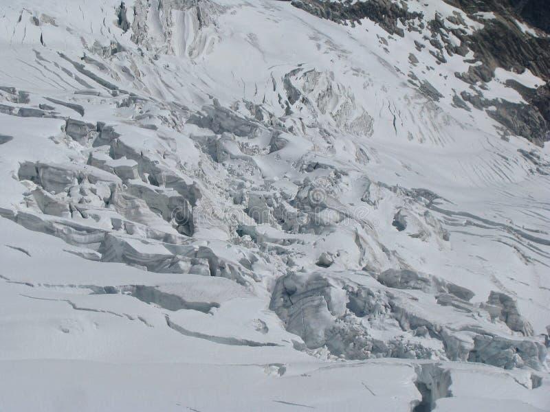 Gór alps galcier crevasses Monte Bianco fotografia royalty free