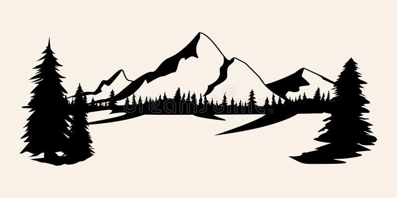 Gór sylwetki Góry wektor, gór plenerowi projektów elementy wektor, Halna sceneria, drzewa, sosnowy wektor, royalty ilustracja