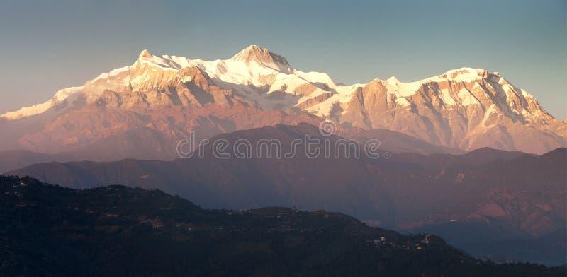 Góra Annapurna, evening zmierzchu widok zdjęcia royalty free