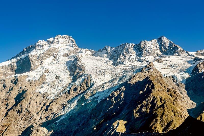 Góra Cook zakrywający z śniegiem, Nowa Zelandia fotografia stock