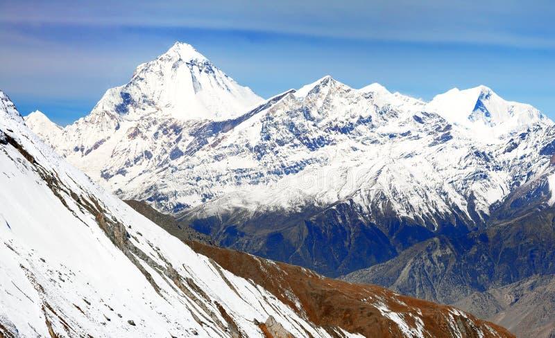 Góra Dhaulagiri, Nepal himalajów góry fotografia stock