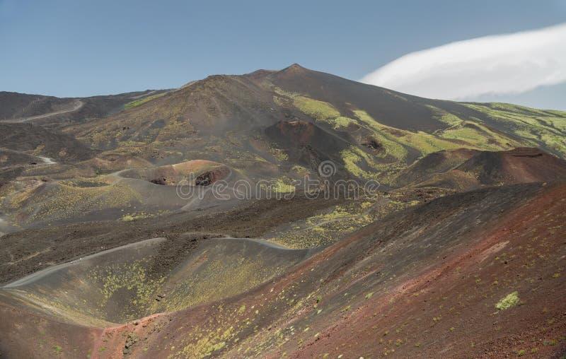Góra Etna Wybucha w wiośnie obrazy royalty free