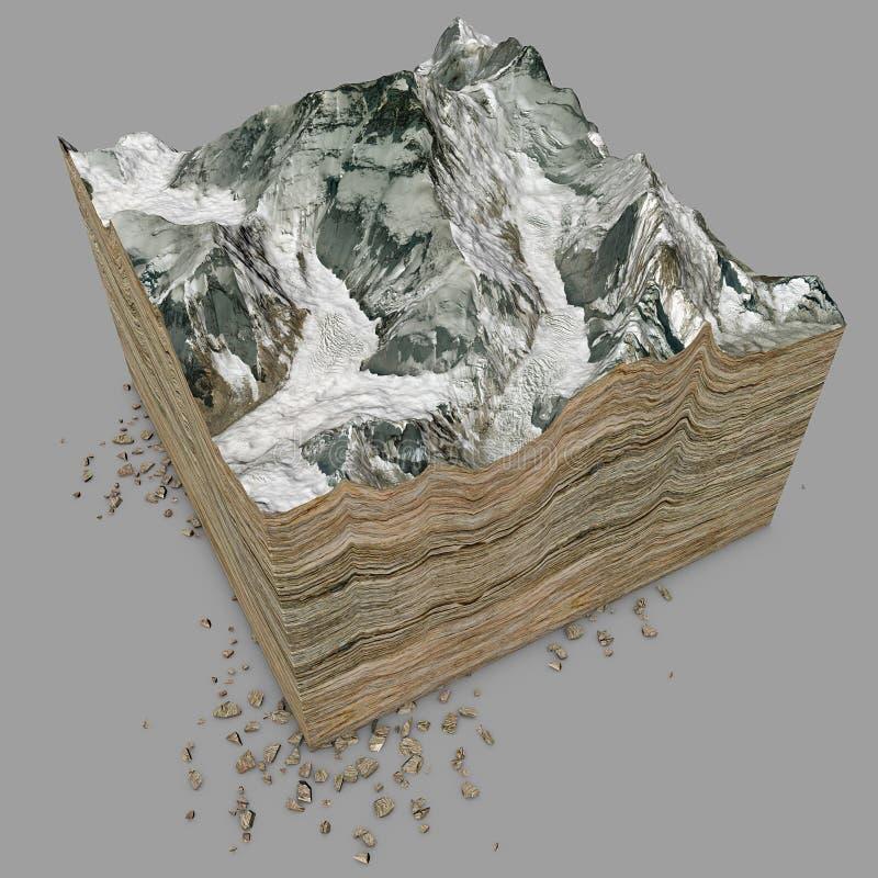 Góra Everest, reliefowy wzrost, góry 3D sekcja ilustracja wektor