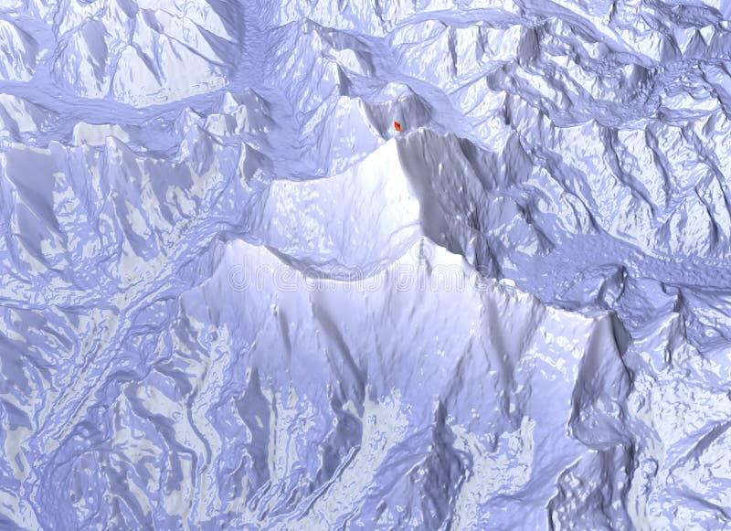 Góra Everest, reliefowy wzrost, góry Himalaje mapa ilustracja wektor