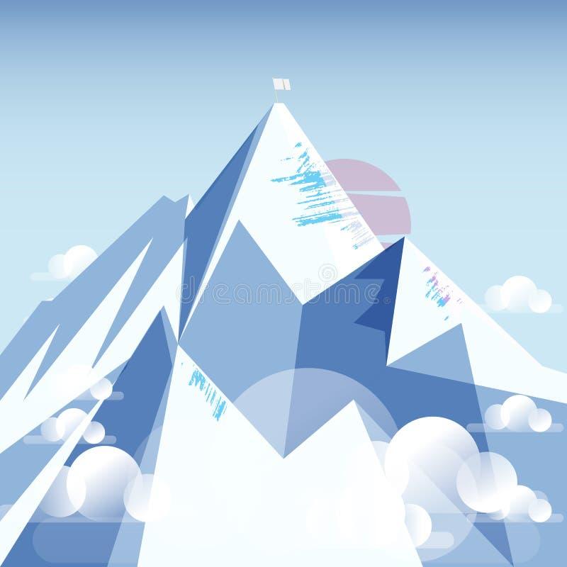 Góra Everest z białą flaga na wierzchołku obraz stock