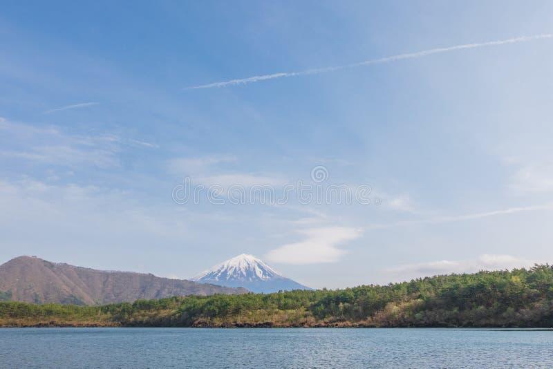 Góra Fuji od jeziornego Saiko w wiośnie obrazy stock