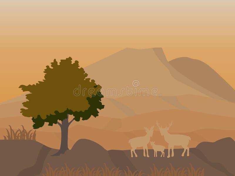 Góra i deers rodzinni przy nocy sceną, wektorowy wizerunek ilustracji