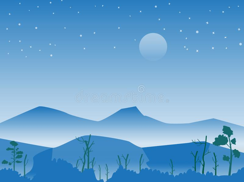 Góra i las przy nocy sceną z gwiaździstym, wektorowym wizerunkiem, ilustracja wektor