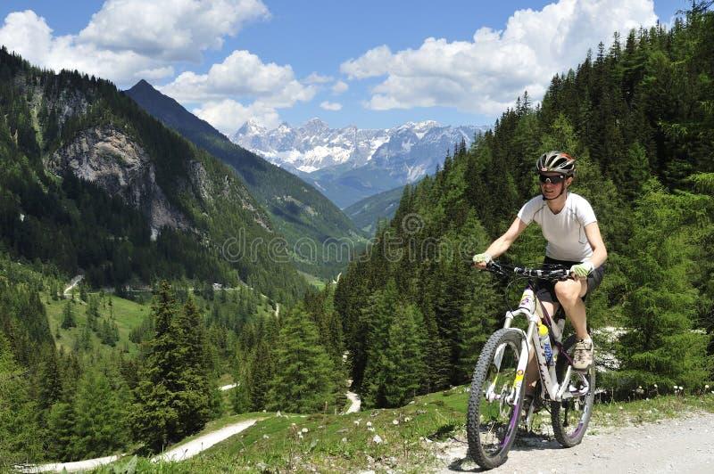 Góra jechać na rowerze w Preuneggtal, Schladminger Tauern, Steirmark, Austria obraz stock