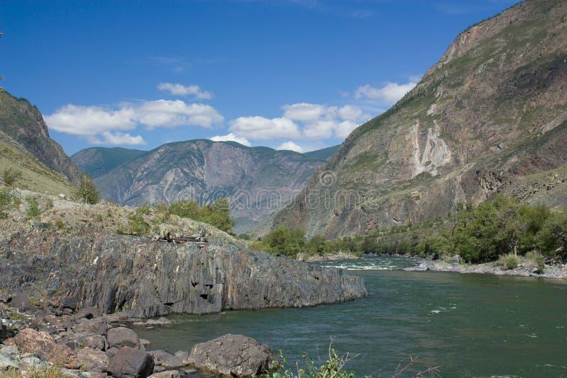Góra krajobraz. Lodowiec. Halny Altai. obrazy royalty free