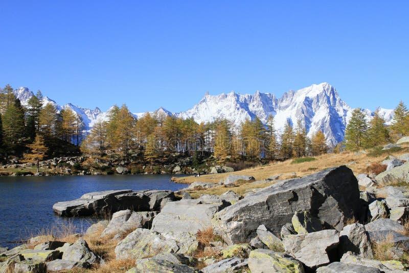 Góra krajobraz przy Mont Blanc fotografia royalty free