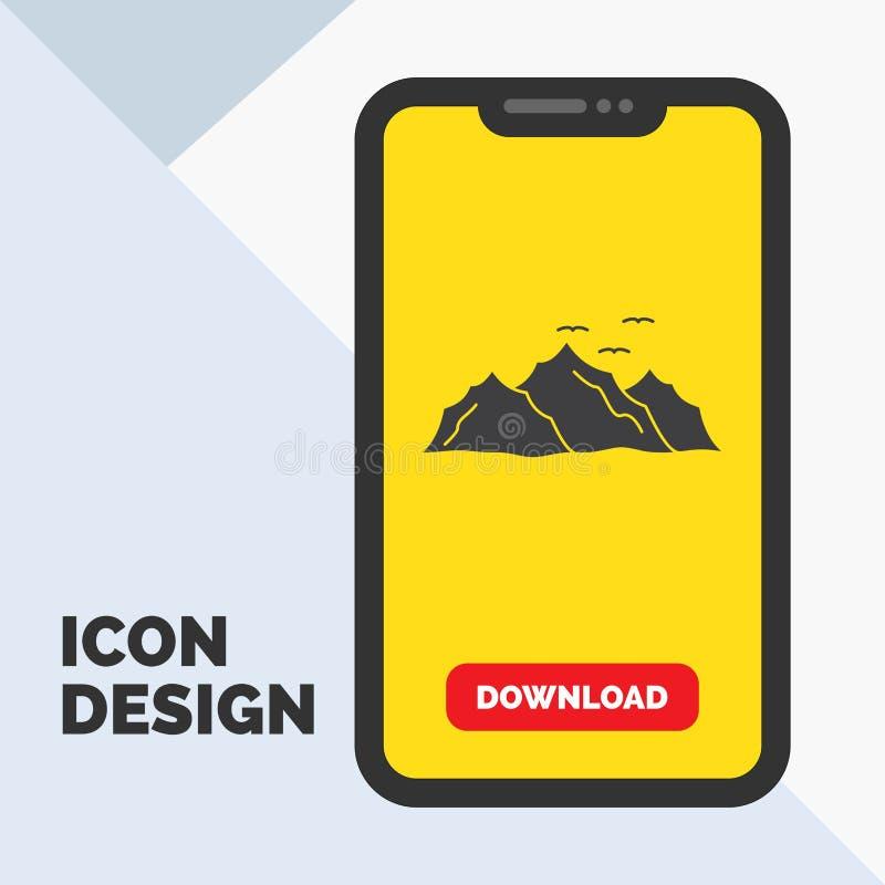 góra, krajobraz, wzgórze, natura, ptaka glifu ikona w wiszącej ozdobie dla ściąganie strony ? royalty ilustracja