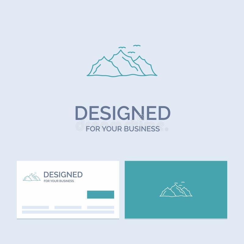 góra, krajobraz, wzgórze, natura, ptaka logo linii ikony Biznesowy symbol dla twój biznesu Turkusowe wizyt?wki z gatunkiem ilustracja wektor
