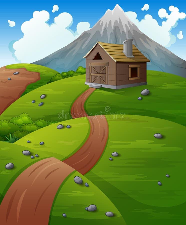 Góra krajobraz z drewnianą kabiną przy wzgórzami ilustracja wektor