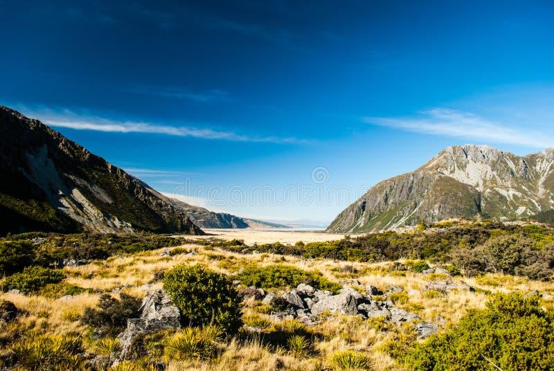 Góra Kucbarski park narodowy, Południowa wyspa, Nowa Zelandia zdjęcie stock