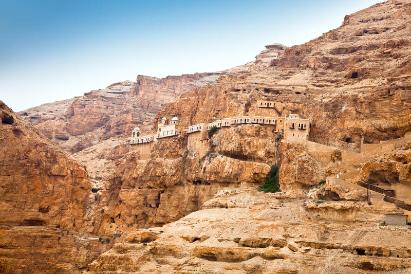 Góra Kuszenie, Jericho, Zachodni Bank, Izrael zdjęcia stock