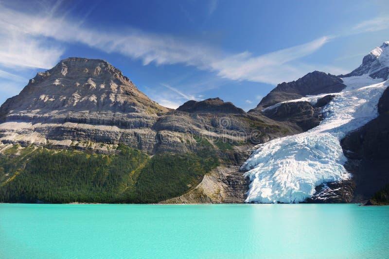 Góra lodowa jezioro, lodowiec góry Robson park, Kanadyjskie Skaliste góry obrazy royalty free
