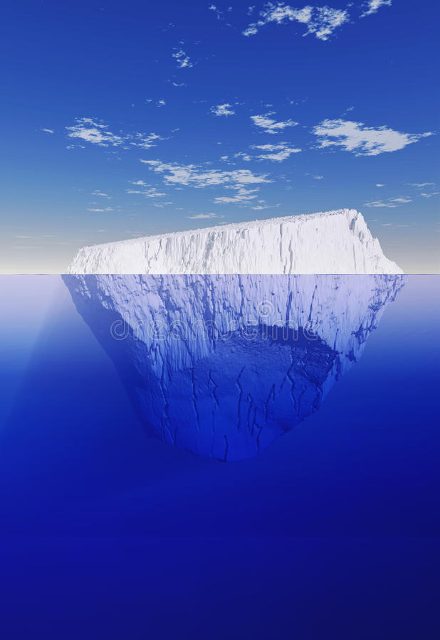 Góra lodowa nad i pod ilustracji
