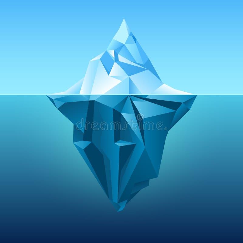Góra lodowa w błękitnym oceanu wektoru tle royalty ilustracja