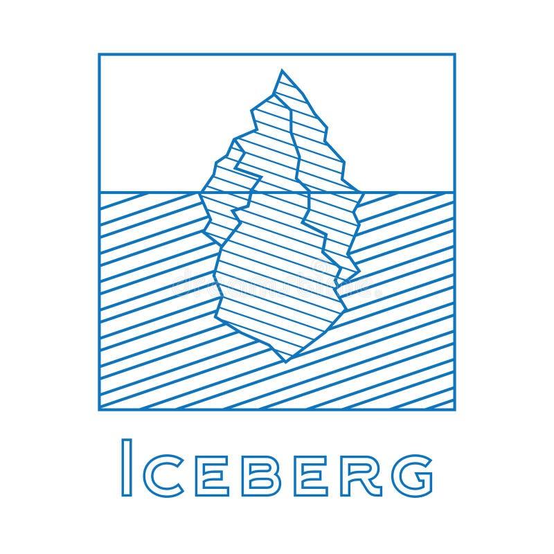 Góra lodowa w liniowym stylu Kontur góra lodowa odizolowywająca na białym backg ilustracji