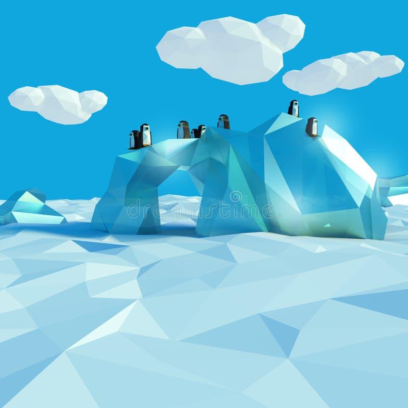 Góra lodowa z pingwinami w arktycznym oceanie ilustracji