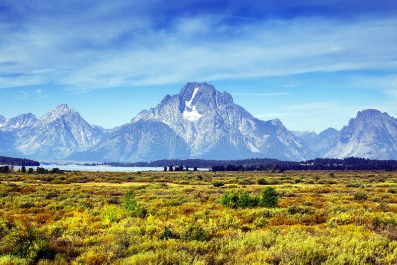 Góra Moran od Wierzbowych mieszkań w Uroczystym Teton parku narodowym, Wyoming fotografia royalty free