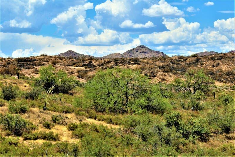 Góra ogień przy Bartlett Jeziornym rezerwuarem, Tonto las państwowy, Maricopa okręg administracyjny, stan Arizona, Stany Zjednocz zdjęcie stock