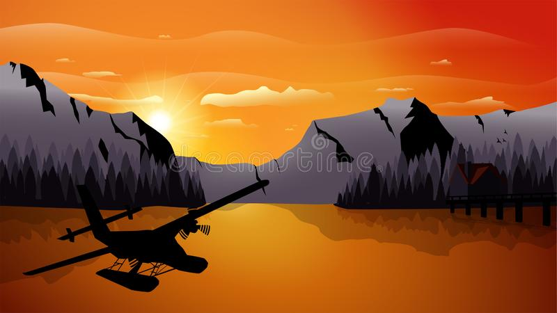 Góra przy zmierzchu krajobrazu wektorem zdjęcie royalty free