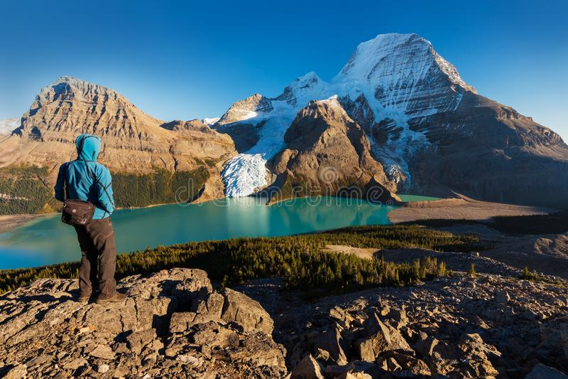 Góra Robson jest wybitnym górą w Północna Ameryka Skalistym pasmie górskim; ja jest także wysokim punktem zdjęcie stock