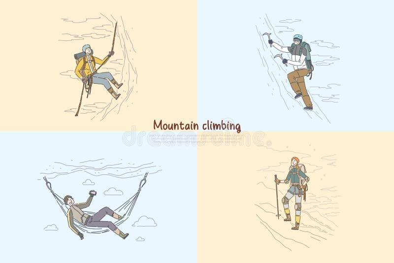 Góra, rockowy pięcie, wysokogórzec używa fachowego mountaineering wyposażenia sztandaru szablon ilustracji