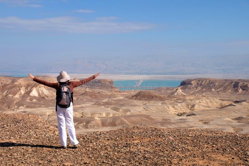 Góra trekking w Judea pustyni zdjęcia royalty free
