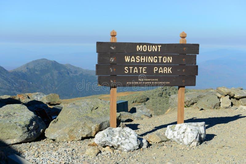 Góra Waszyngton podpisuje wewnątrz spadek, New Hampshire, usa obraz stock
