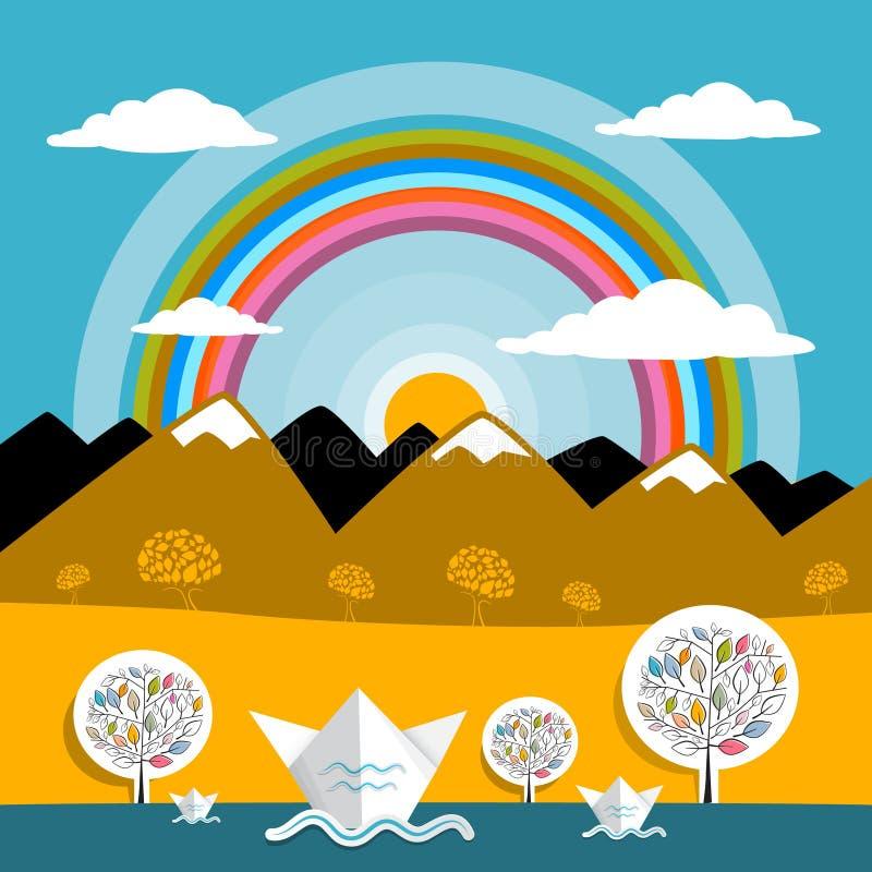 Download Góra Wektoru Krajobrazu Natury Papierowe Góry Ilustracji - Ilustracja złożonej z piękny, naturalny: 57655679