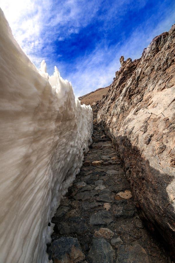 Góra wulkanu Teide krajobrazowy pobliski korytarz zdjęcie royalty free