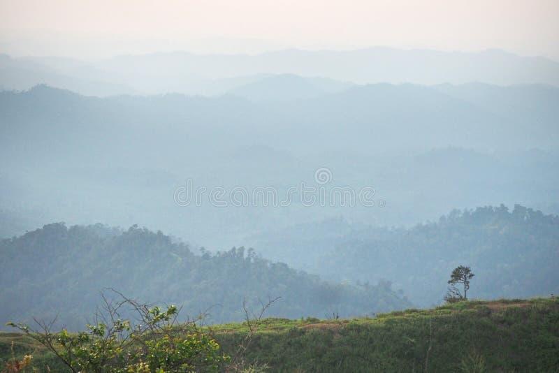 Góra z zieloną trawą w ranku fotografia royalty free