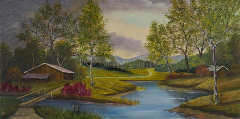 Górkowaty krajobraz z stajniami i rzeką royalty ilustracja