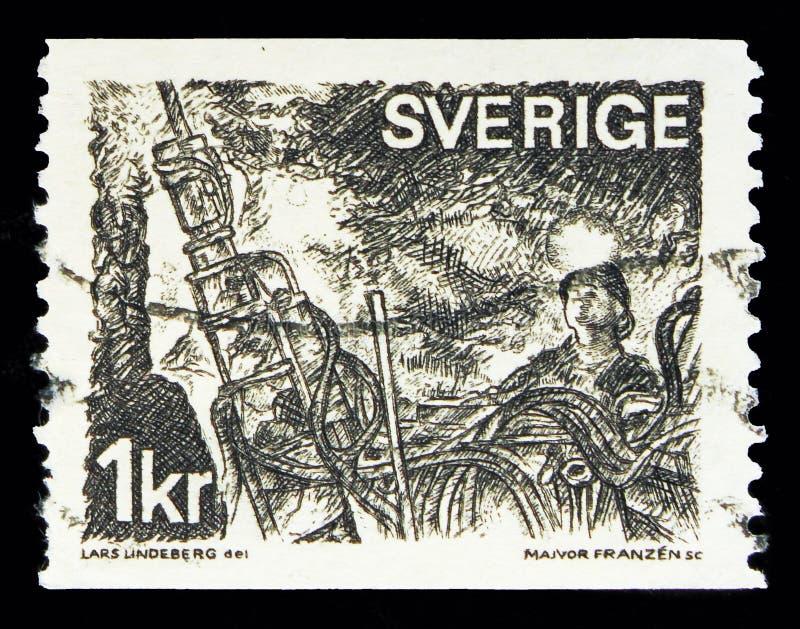 Górnicy przy coalface, Szwedzki handel i przemysł seria około 197, obraz stock