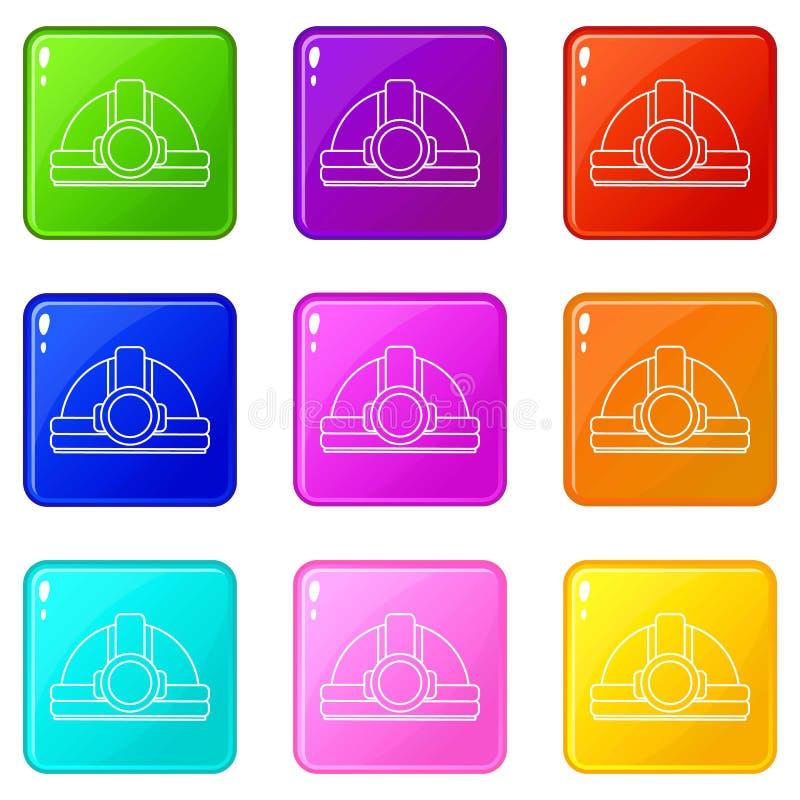 Górnicze hełm ikony ustawiają 9 kolorów kolekcję ilustracji